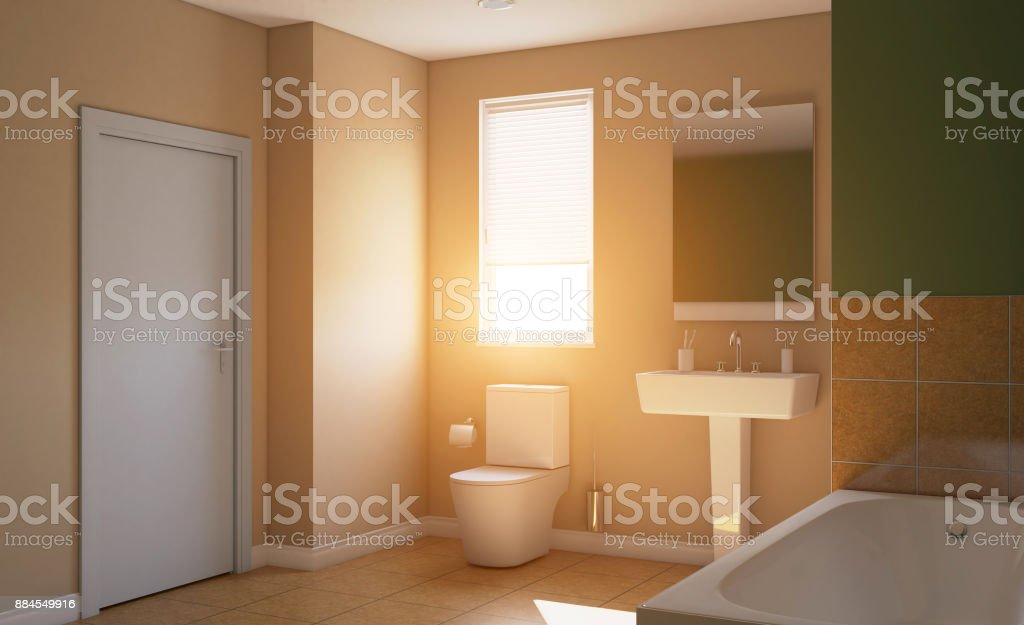 . Modern Bathroom With Large Window 3d Rendering Sunset Stock Photo