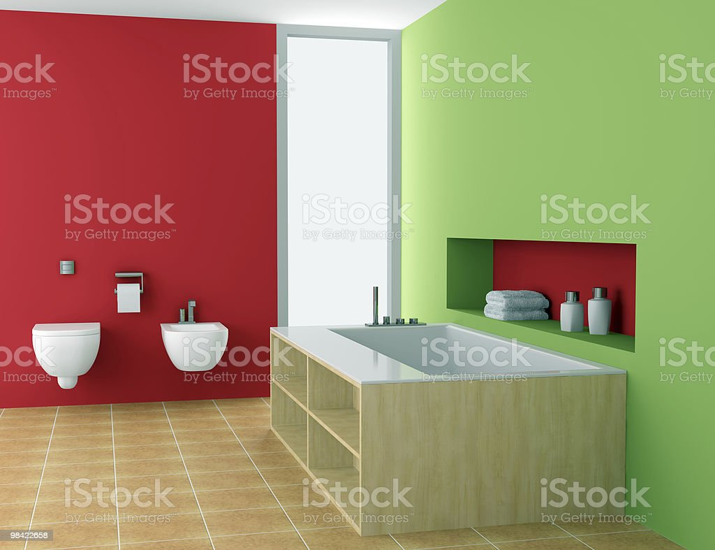 modern bathroom with red and green walls royalty-free stock photo
