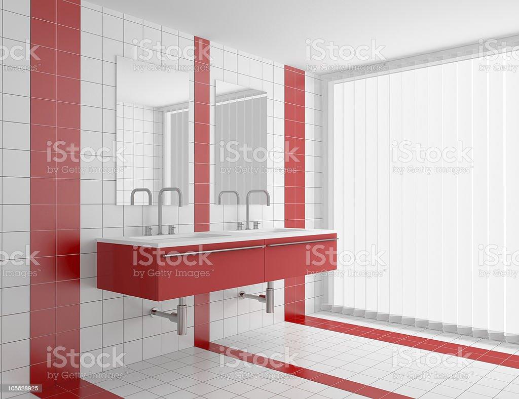 Salle De Bain Rouge Et Blanc photo libre de droit de salle de bains moderne avec rouge et