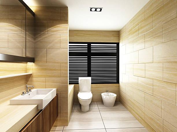 toilette im badezimmer - badmöbel gäste wc stock-fotos und bilder