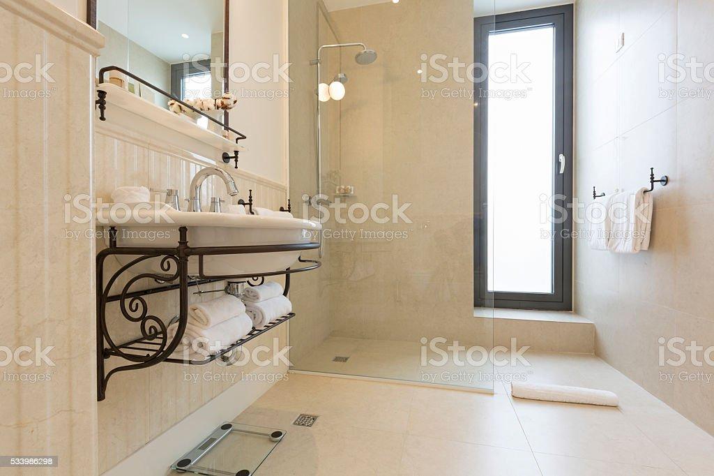 Modern bathroom with shower cabin stock photo