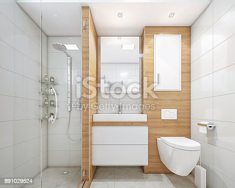 istock Modern bathroom with shower 891029524