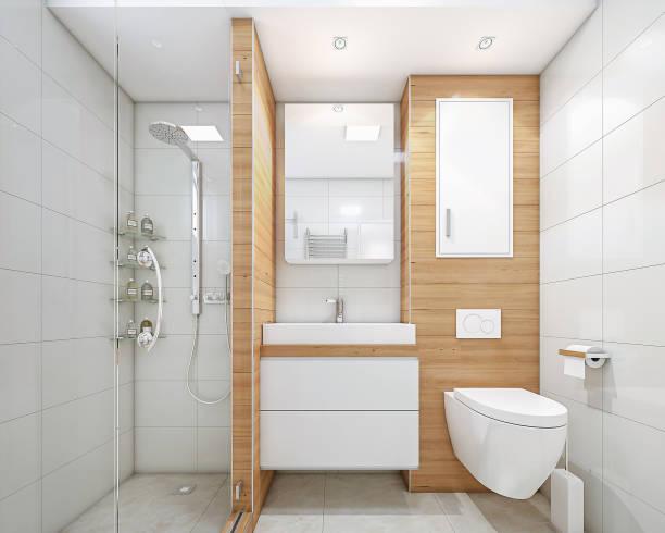 moderne badezimmer mit dusche - badezimmermöbel holz stock-fotos und bilder