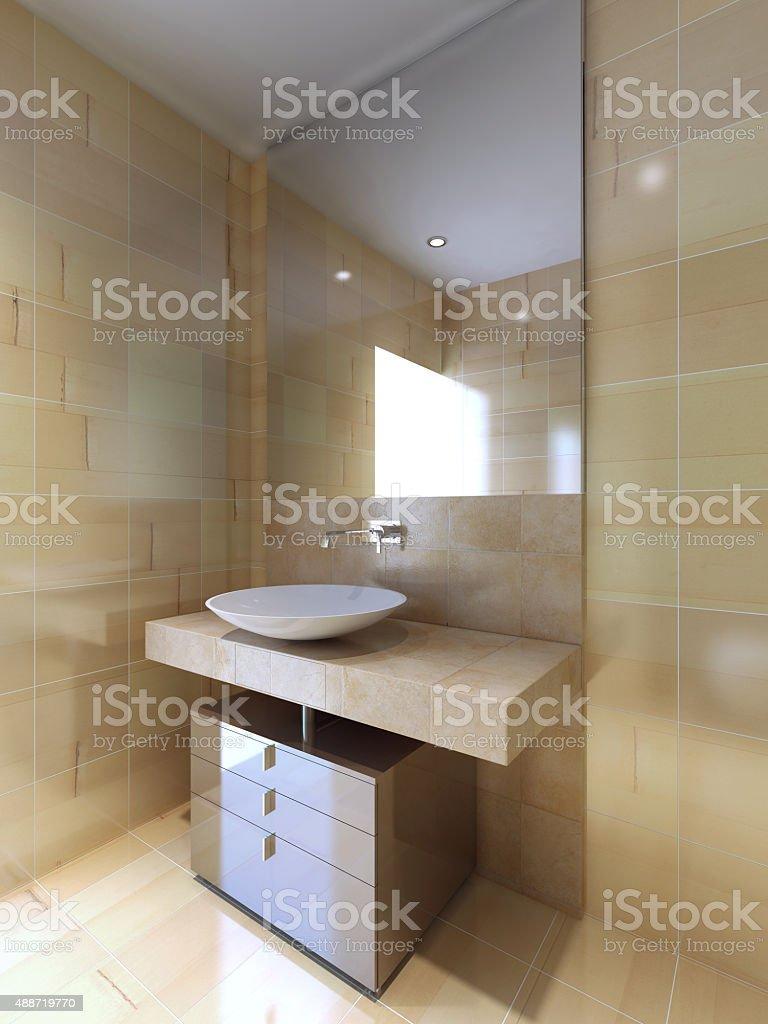 Moderne Badezimmer Mit Waschbecken Konsole In Beige Und ...