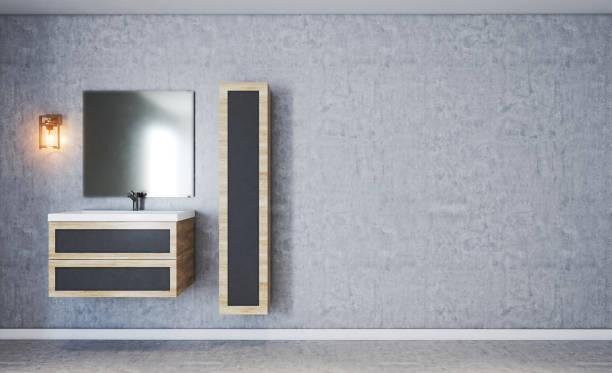 Banheiro moderno com parede de concreto texturizado. espelho nebuloso. Móveis feitos de madeira. Renderização 3D. - foto de acervo