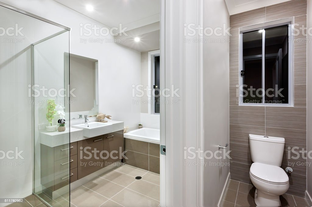 Modern bathroom with the toilet stock photo