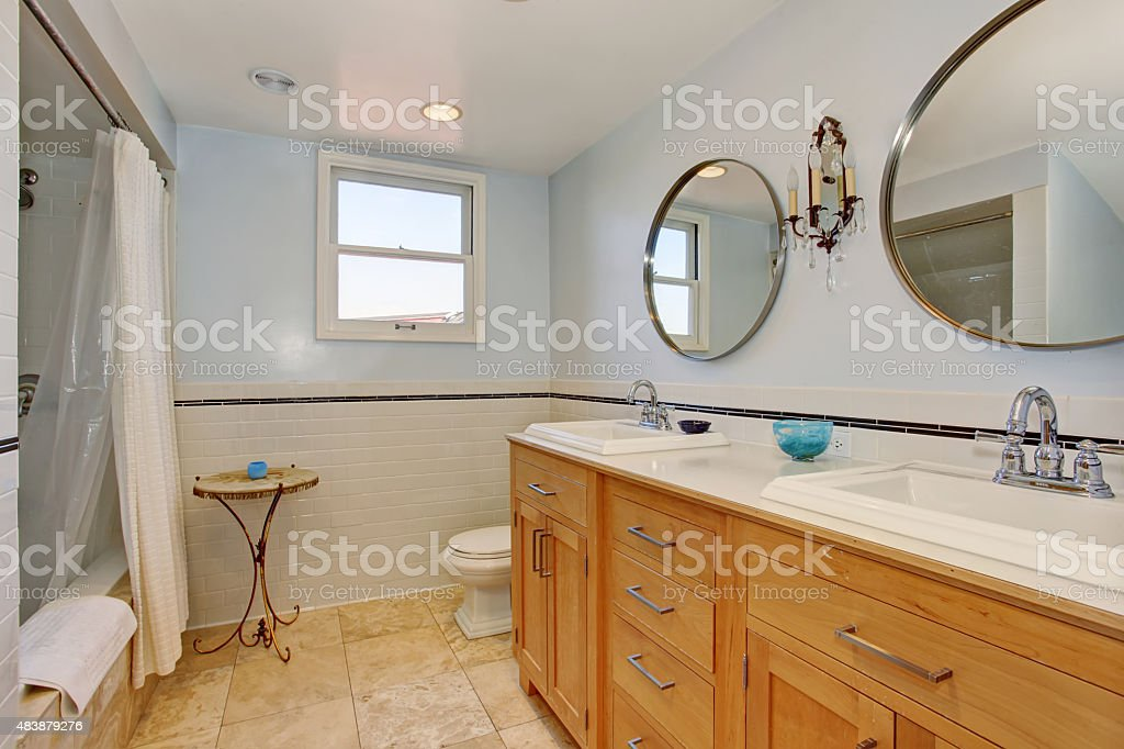 Modern Bathroom With Two Oval Mirrors And White Shower Curtain Stock Photo Download Image Now Istock