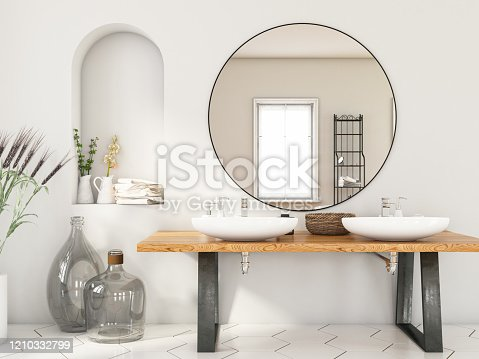 Modern Bathroom with Two Sinks and Mirror. 3d render