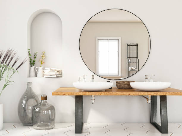 banheiro moderno com duas pias e espelho - banheiro doméstico - fotografias e filmes do acervo