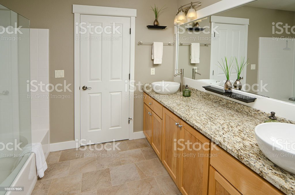 Modern bathroom with vanity mirror royalty-free stock photo