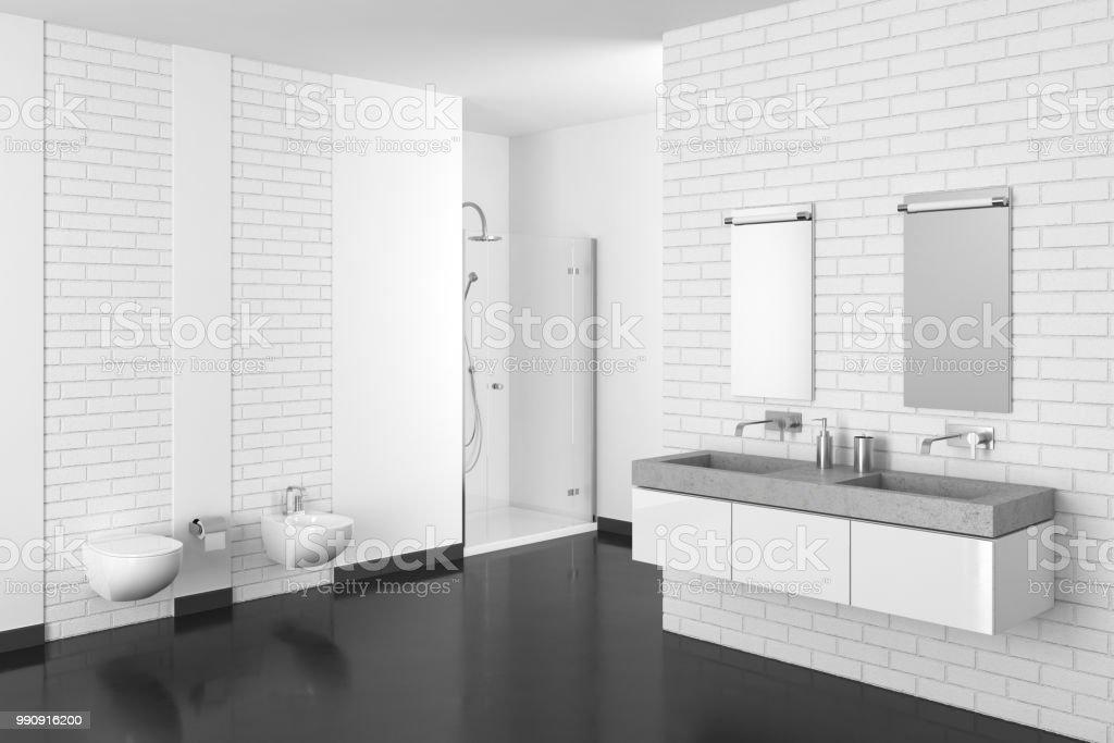 Modernes Badezimmer Mit Weißen Ziegelmauer Und Dunkler Boden Stockfoto und  mehr Bilder von Architektur
