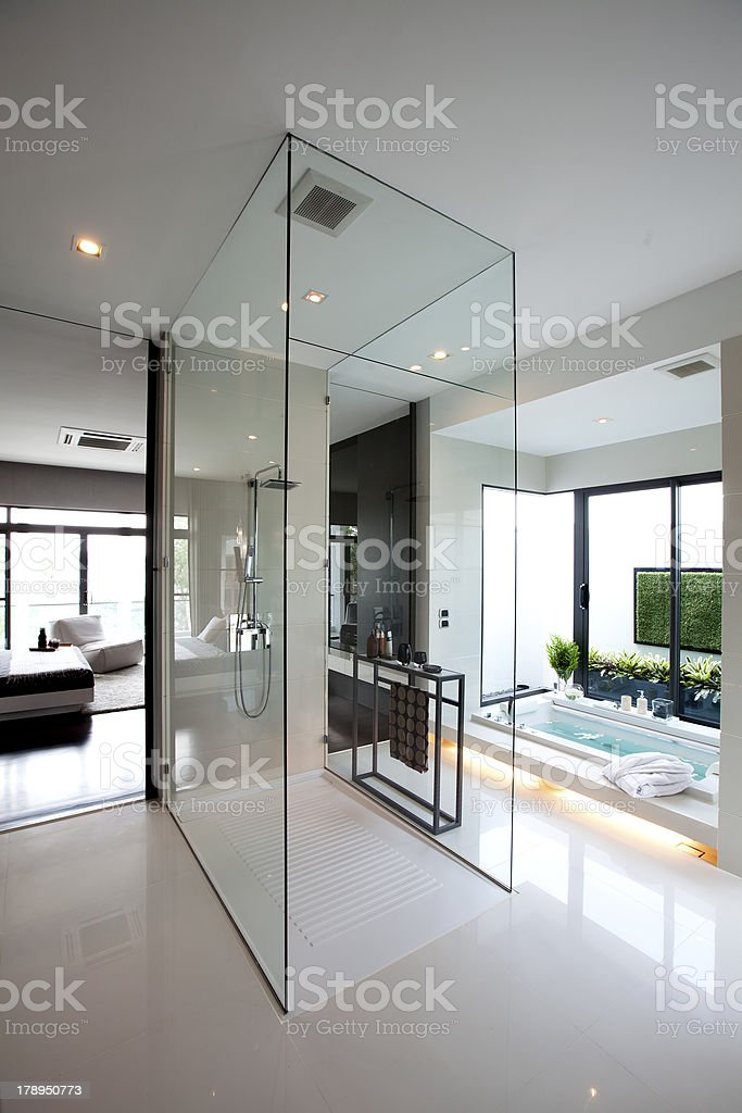 Modern Bathroom With window glass stock photo