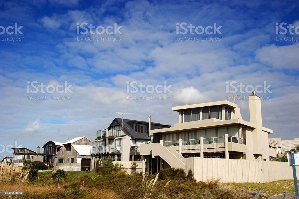 Modern beach homes stock photo