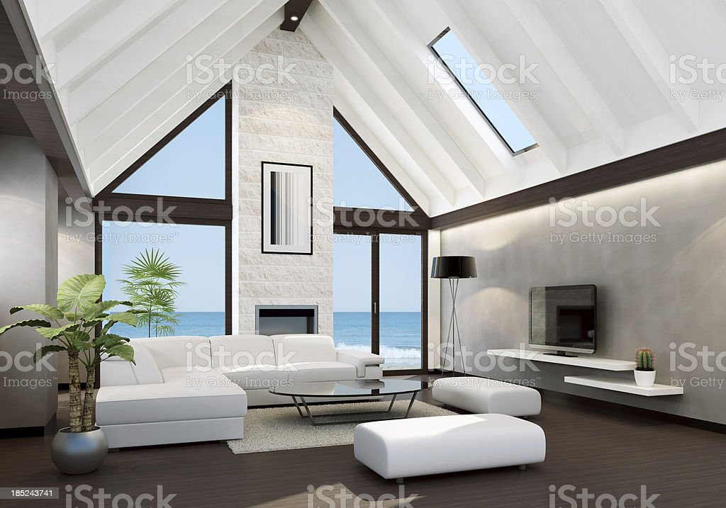 modern beach house interior royalty free stock photo