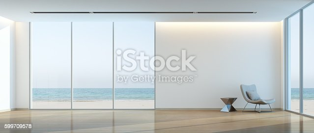 istock Modern beach house interior, Relaxing sea view living room 599709578