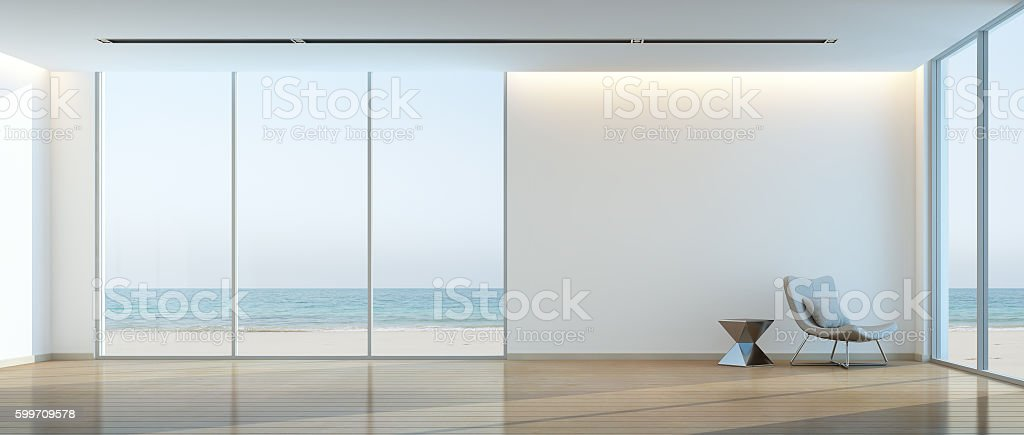 Modern beach house interior, Relaxing sea view living room stock photo