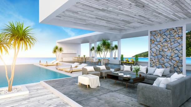 ein modernes strandhaus, privaten swimmingpool, panorama himmel und meer sehen, 3d-rendering - traum pools stock-fotos und bilder