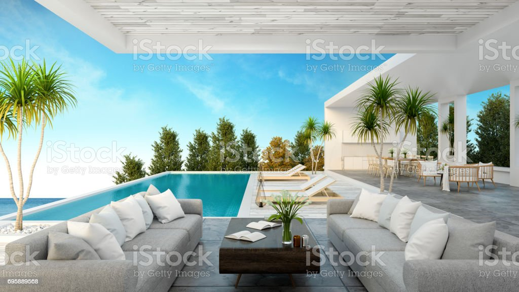 A Modern Beach House,  private swimming pool ,panoramic sky and sea view , 3d rendering stock photo