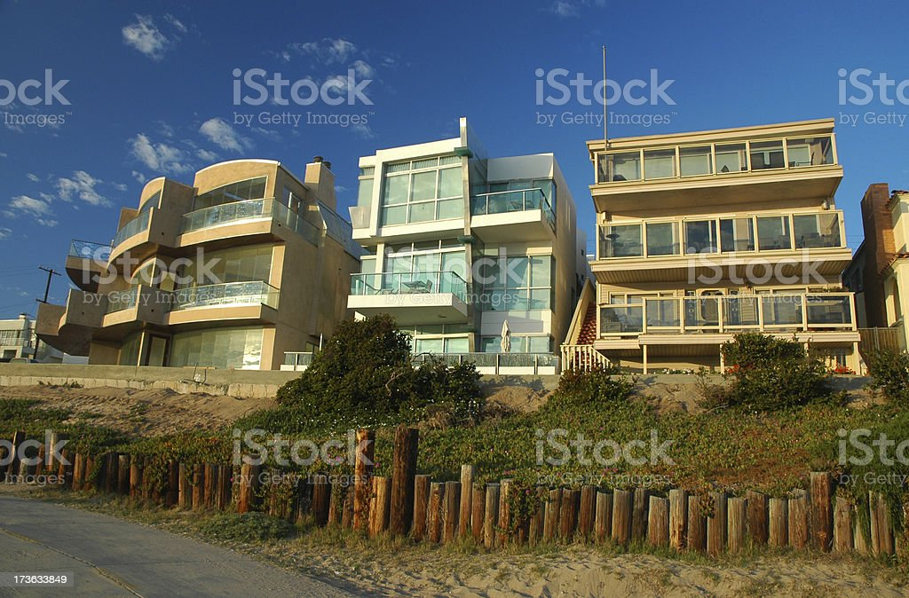 Modern Beach Houses in Los Angeles stock photo