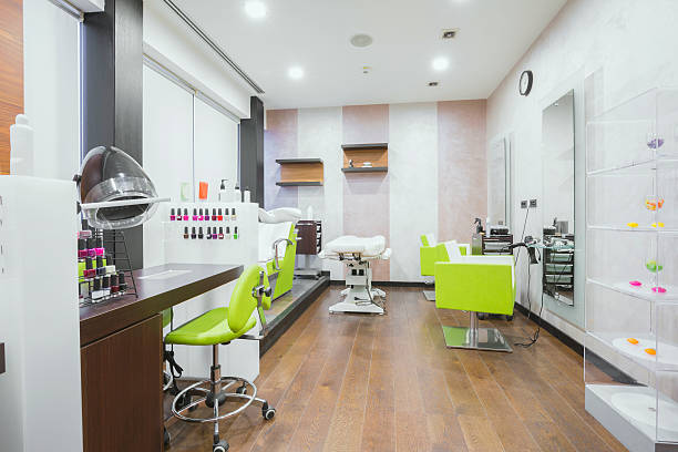 modern beauty salon interior - beauty spa stock photos and pictures