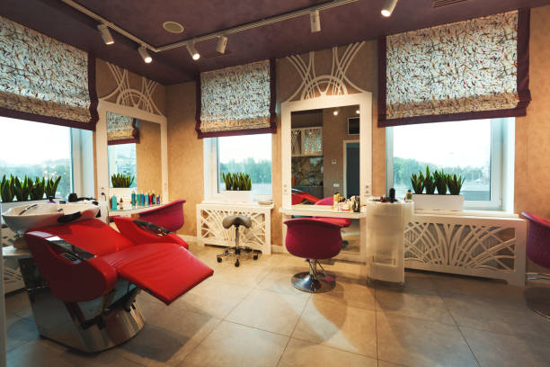 modern beauty studio interior - beauty spa stock photos and pictures