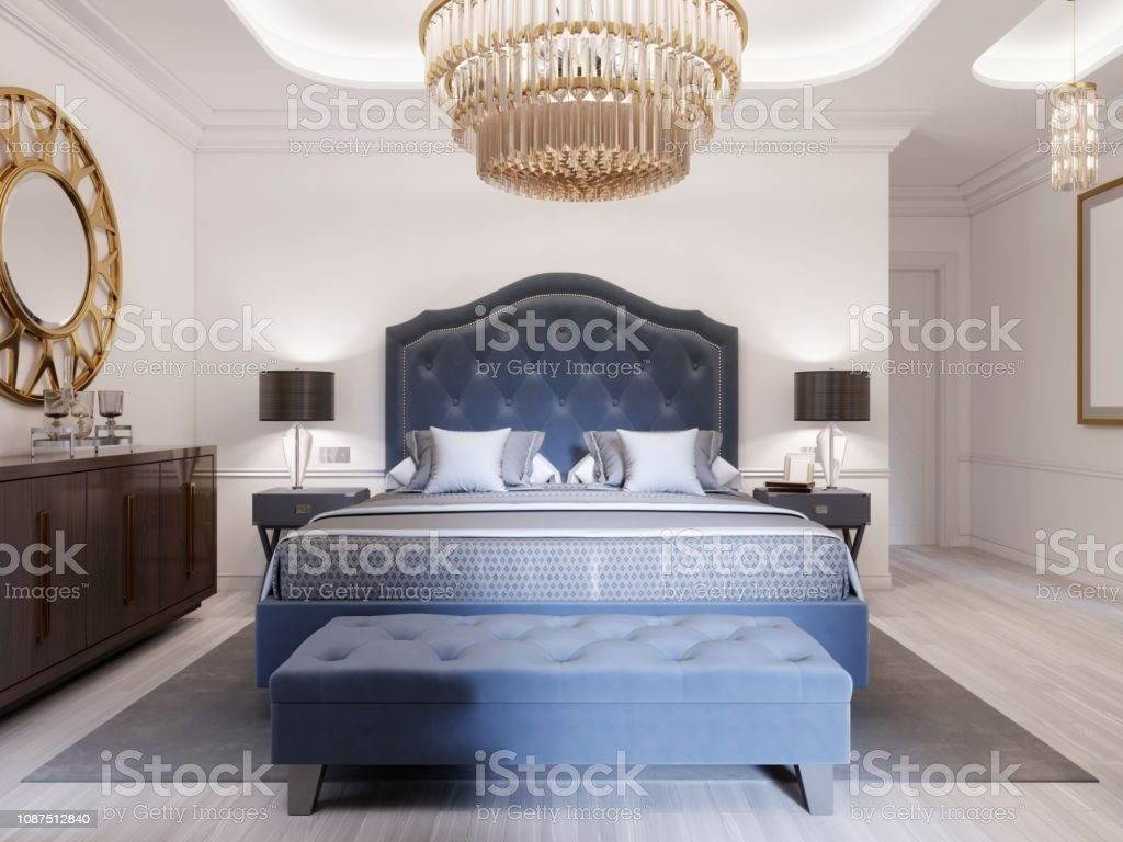 Modern Bed In Classic Blue Style With Bedside Table And Lamp