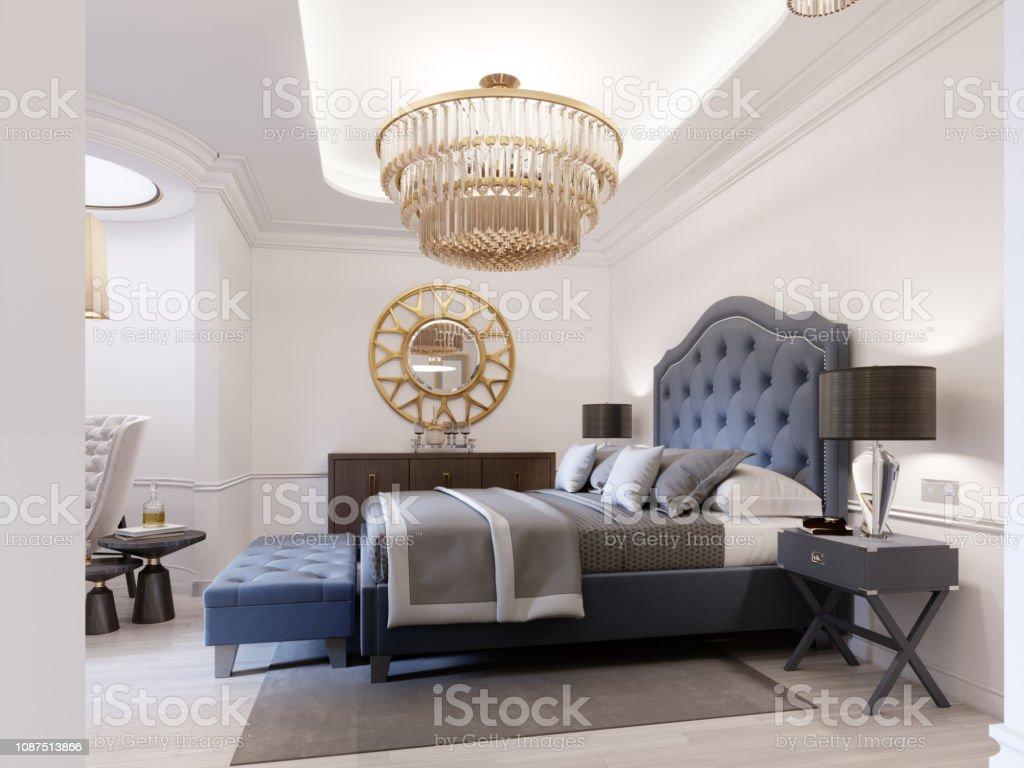 Modernes Bett In Blau Klassik Mit Nachttisch Und Lampe ...