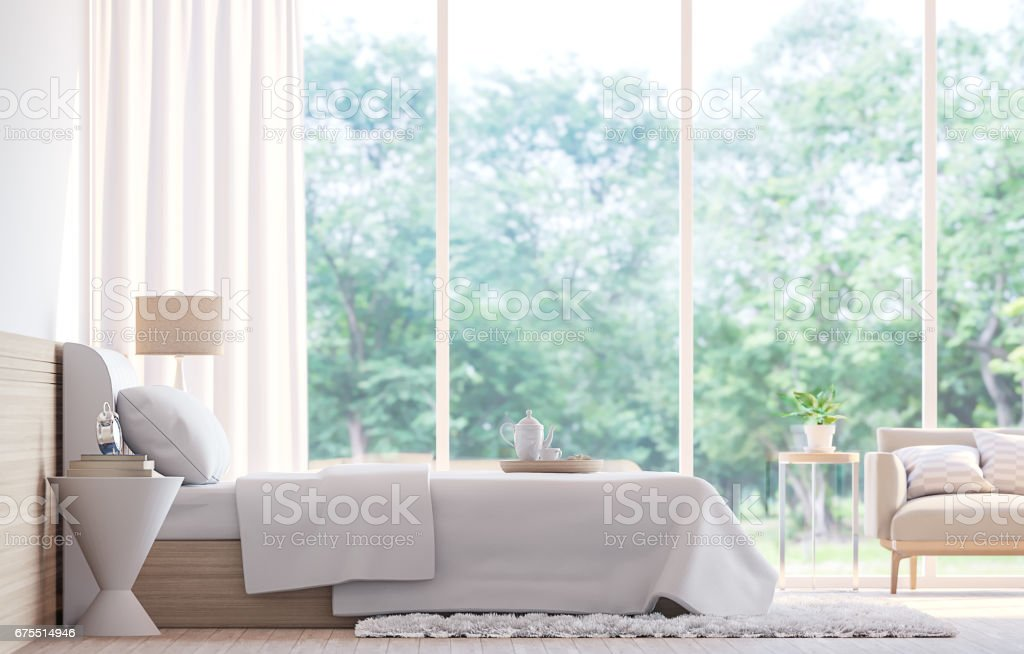 Modern yatak odası 3d işleme görüntü royalty-free stock photo