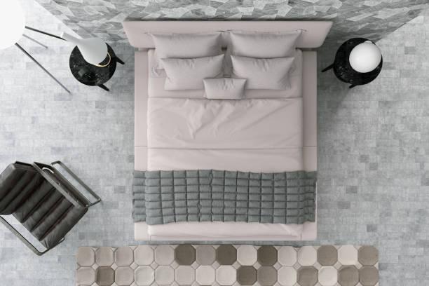 camera da letto moderna sopra la vista - lenzuolo foto e immagini stock