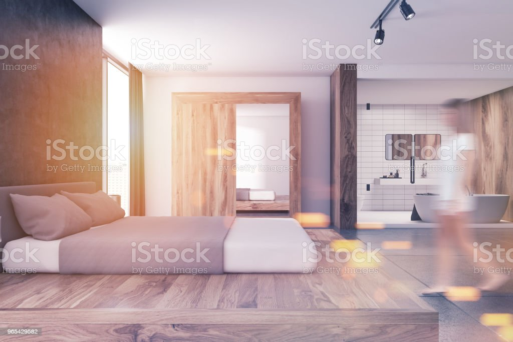 Modern bedroom and bathroom interior blur royalty-free stock photo