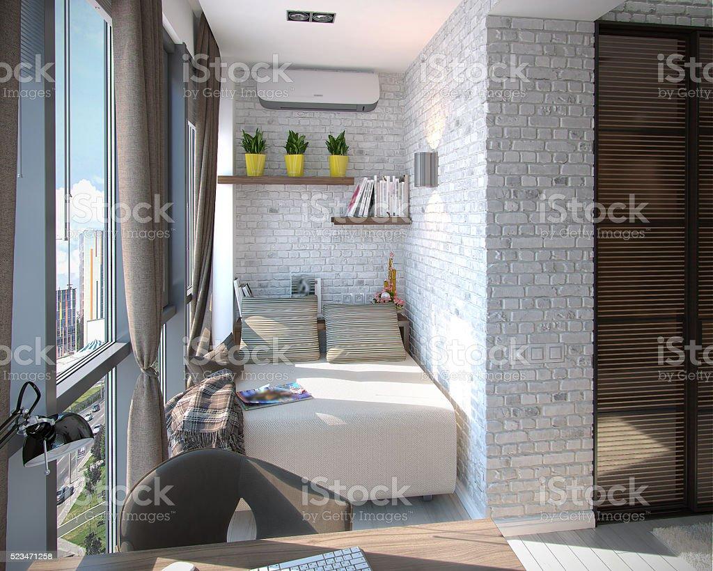 Moderne Schlafzimmer mit Balkon, 3d-Abbildung – Foto