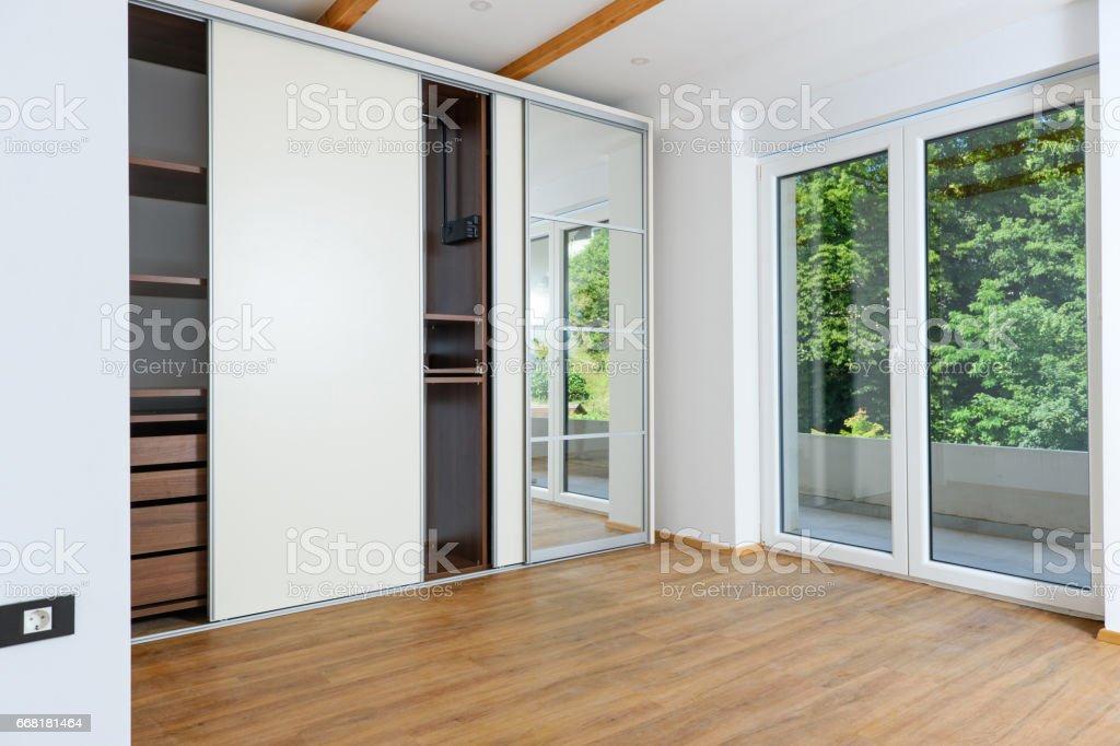Modern bedroom closet stock photo