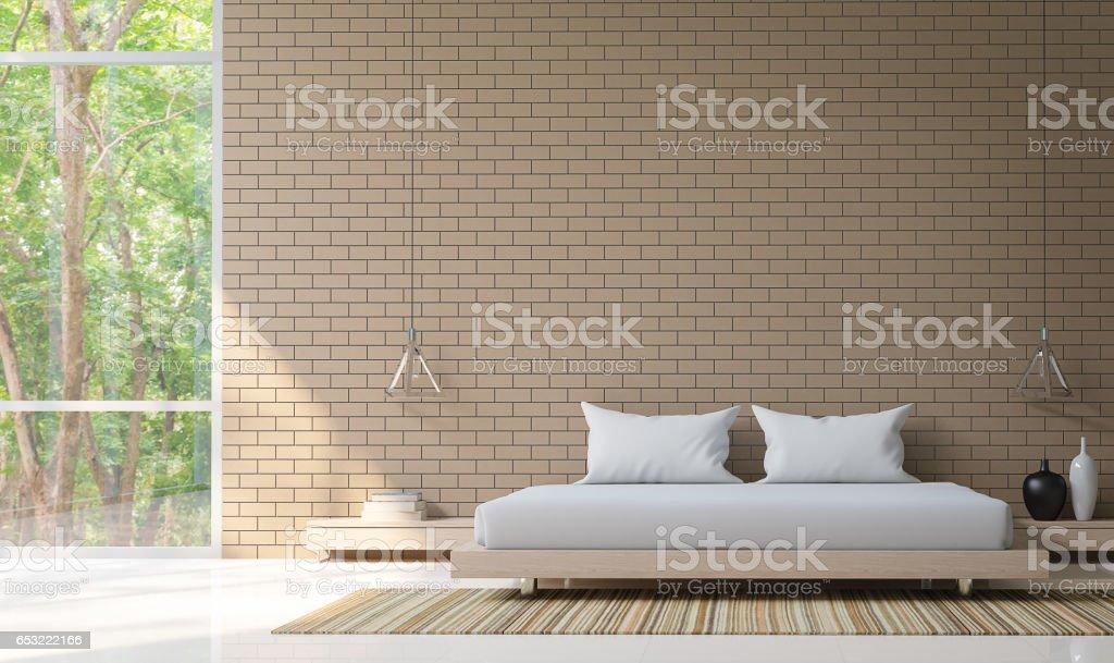 Moderne Schlafzimmer Dekorieren Wand Mit Backstein 3drendering Bild Stockfoto Und Mehr Bilder Von Architektur Istock