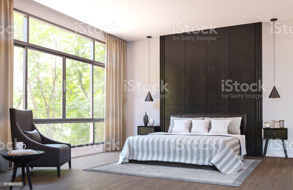 Moderne Schlafzimmer Zu Dekorieren, Mit Braunem Ledermöbel Und Schwarzem  Holz 3D Bild Rendern Lizenzfreies