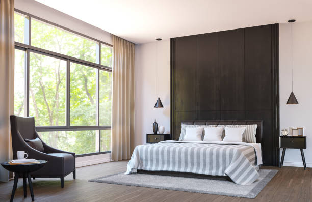 modern bedroom decorate with  brown leather furniture and black wood 3d rendering image - bedroom stock pictures, royalty-free photos & images