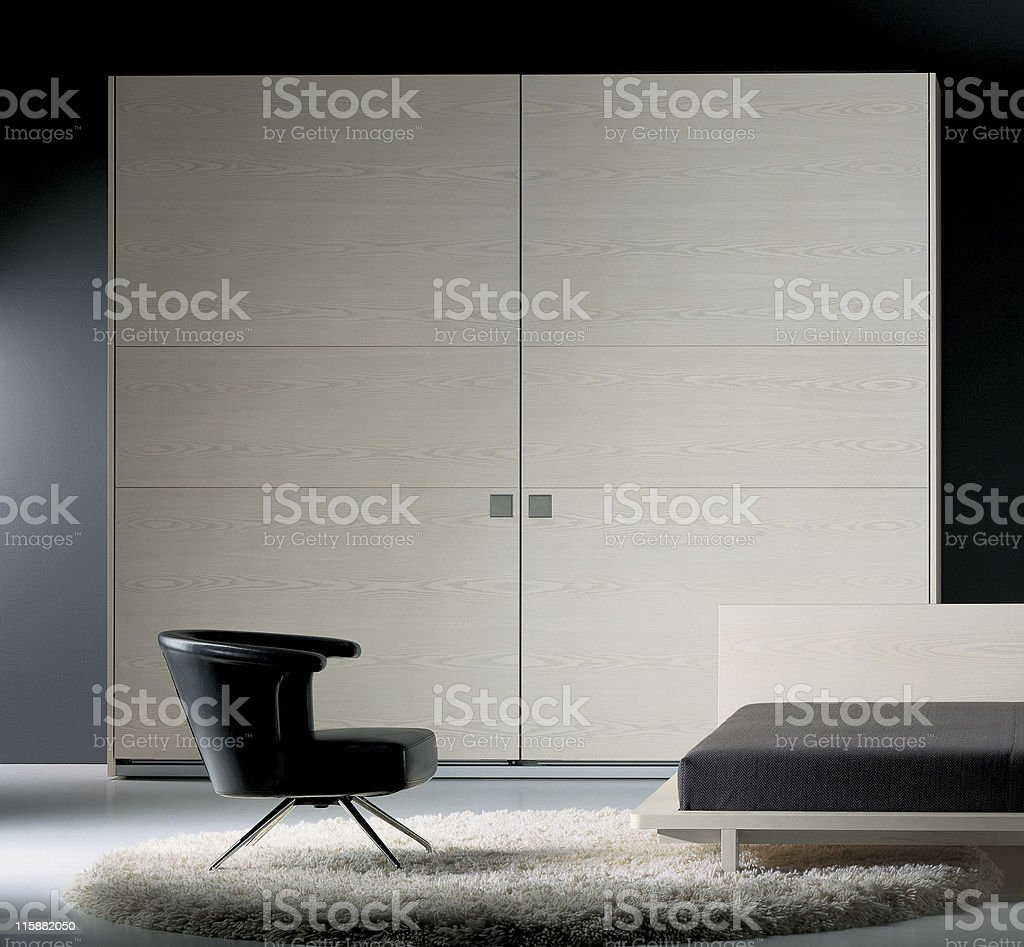 Modern bedroom decoration in Black and Tan royalty-free stock photo