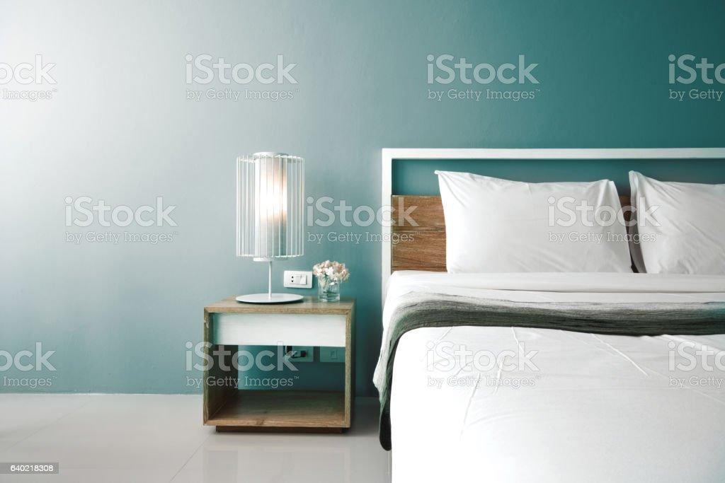Modern bedroom design, Double bed stock photo