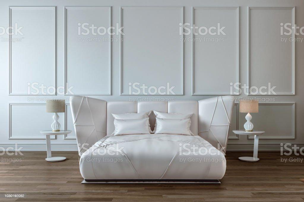 Moderne Schlafzimmer Mit Designinterieur Weißen Satin Bett ...