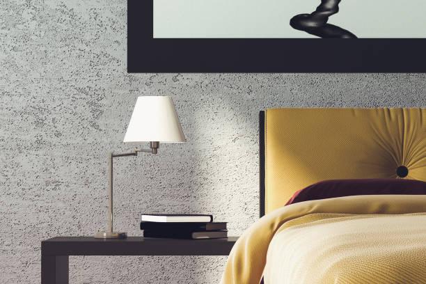 Modern Bedroom Detail 3D Render Image of Modern Bedroom bed furniture stock pictures, royalty-free photos & images