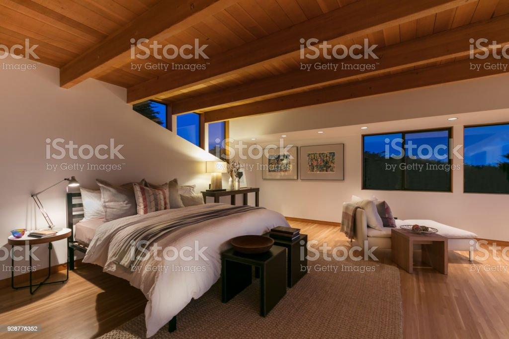 Modern Bedroom in California stock photo