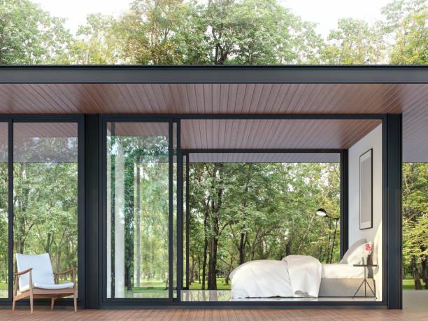 Modernes Schlafzimmer im Glashaus 3d render – Foto