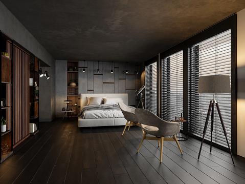 Modern Bedroom In The Evening