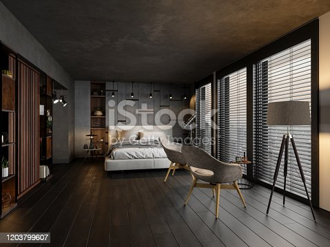 Modern Bedroom In The Evening
