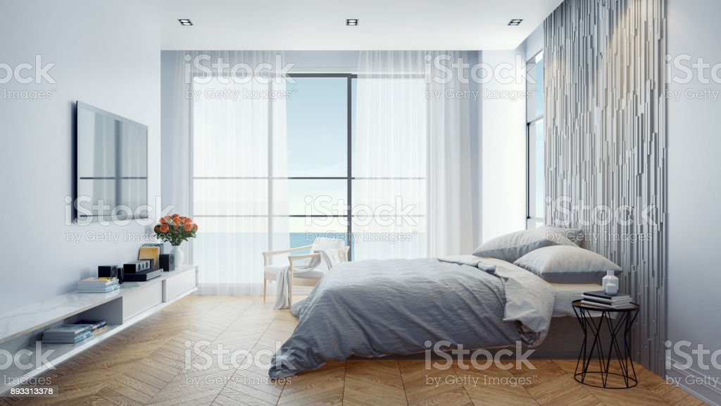 Modern Bedroom Interior Design Concept Summer Relaxing Sea View At ...