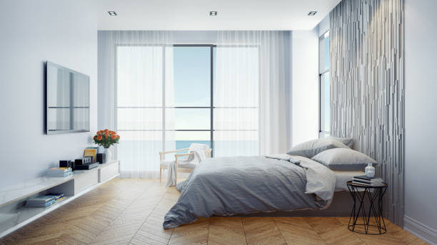 Modern  Bedroom  interior design concept ,Summer relaxing  , sea view at villa,hotel ,beach lounge,/3d rendering Modern  Bedroom  interior design concept ,Summer relaxing  , sea view at villa,hotel ,beach lounge,/3d rendering luxury hotel room stock pictures, royalty-free photos & images