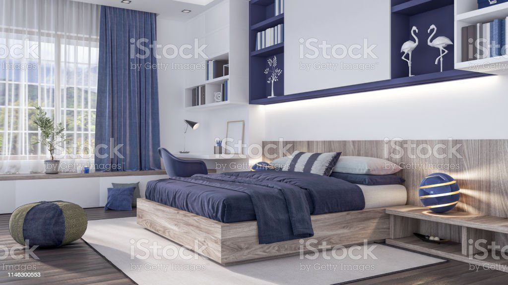 Modern Bedroom Interior Design With Blue Elements 3d Render Stock Photo Download Image Now Istock