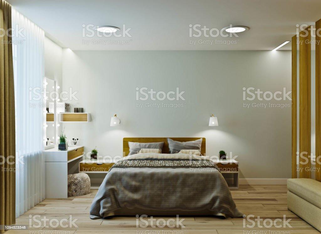 Moderne Schlafzimmer Interieur In Warmen Farben Mit ...