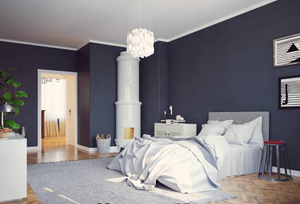 moderne schlafzimmer innenraum. - cottage schlafzimmer stock-fotos und bilder