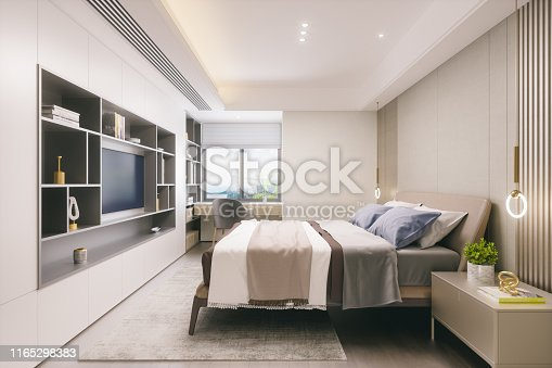 Interior of a modern bedroom.