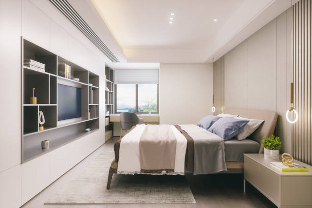 Modern Bedroom Interior Interior of a modern bedroom. luxury hotel room stock pictures, royalty-free photos & images